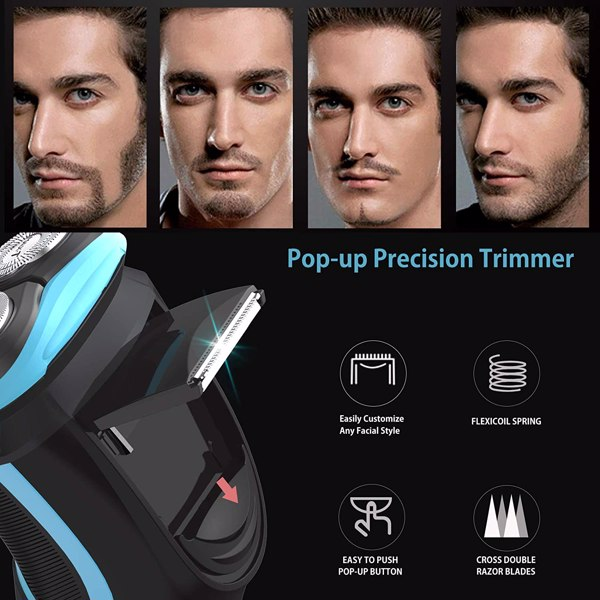 Men Electric Shaver, ROAMAN Rechargeable Corded and Cordless Electric Razor for Men with Pop-up Trimmer,Wet Dry IPX7 Waterproof With Travel Bag(Cannot be sold on Amazon)