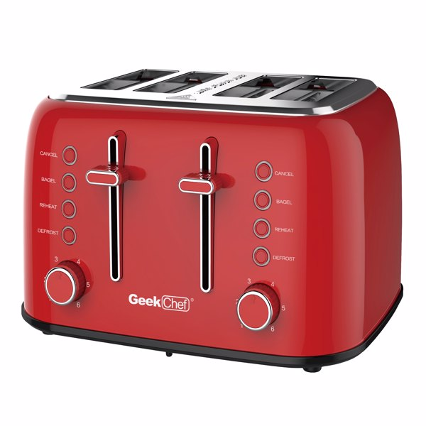 Toaster 4 Slice, Geek Chef Retro Red Extra Wide Slot, Independent temperature control Toaster ,Reheat,Defrost,Cancel 4 Function, 6-Shade Settings, High Auto Pop-Up.Prohibition in the Amazon shelves