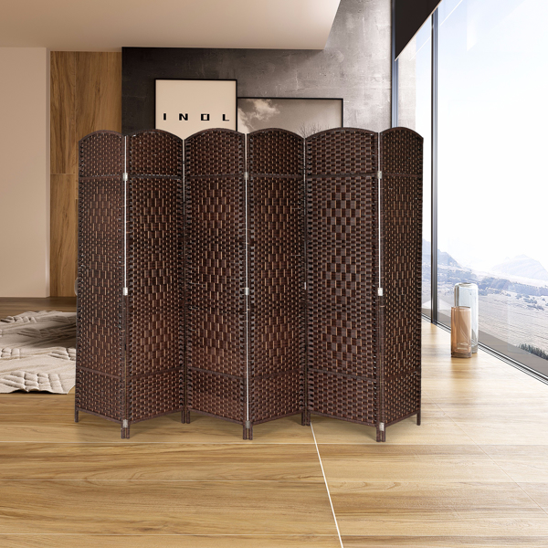 Six Folds Rattan Chinese Style Screen with Two Plates Brown