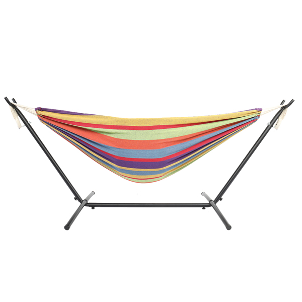 9ft Black Steel Pipe Hammock Frame with 200*150cm Polyester Cotton Hammock Small Color Strip Natural Rope Iron   Hammock Set