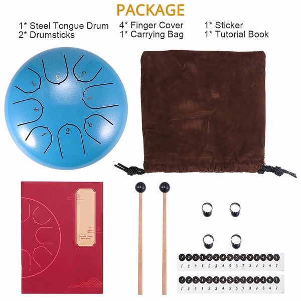 6 Inch Steel Tongue Drum 8 Tune Hand Pan Drum Tank Drum With Sticks Carrying Bag Percussion Instruments