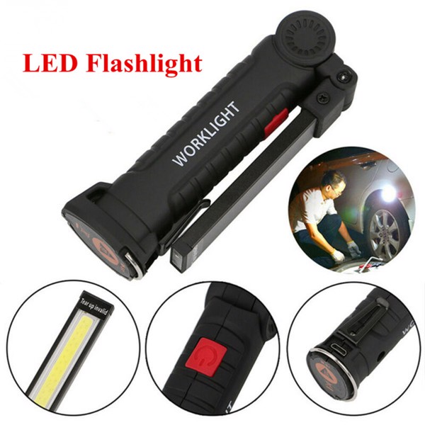 Handheld LED Work Light Bright COB Inspection Lamp 360 Degrees Rotary Magnetic Flashlight 5 Modes LED Torch Light for Outdoor Emergency Situation 27*5*3cm