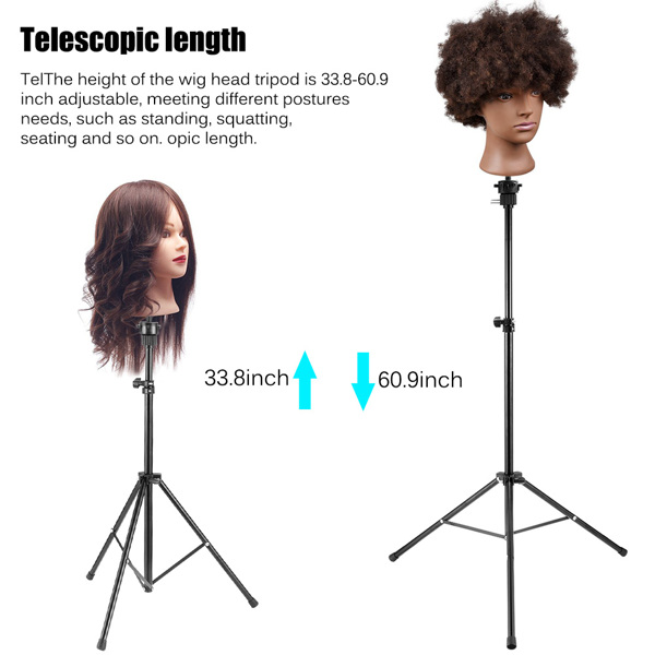 Adjustable Wig Head Stand Mannequin Tripod Hairdressing Training Holder With Carrying Bag