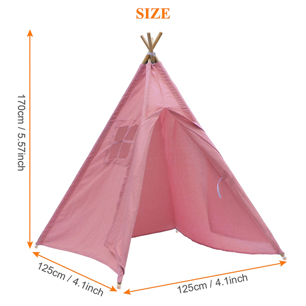 Large Canvas Kids Teepee Tent Children Wigwam Indoor Outdoor Play House Gift