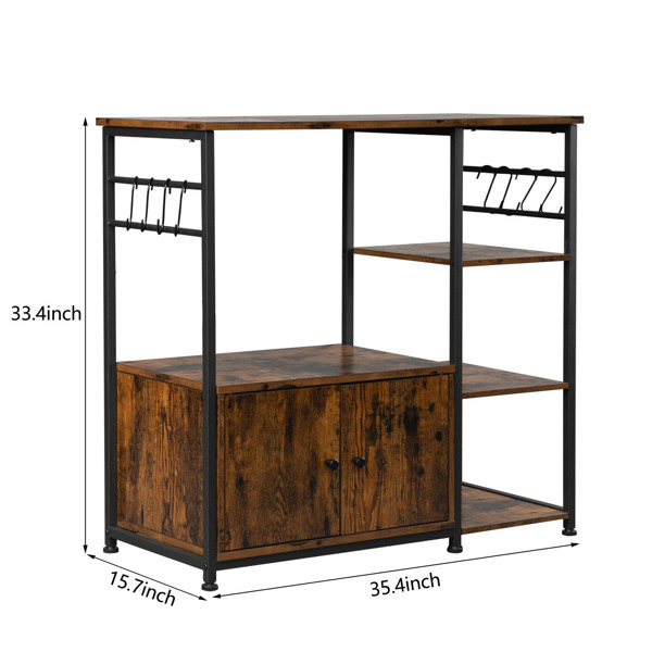 Multiuse 4-Tier Kitchen Bakers Rack with 1 Cabinet and 8 Hooks, Microwave Storage Rack Oven Stand, Utility Storage Organizer Cabinet