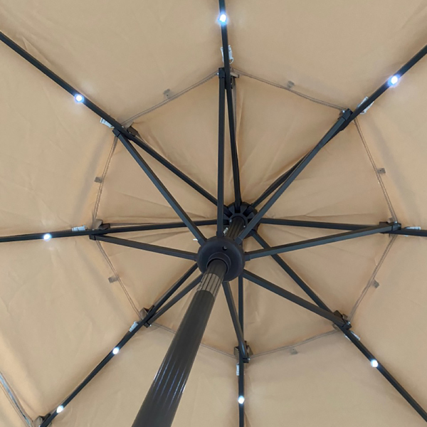 3 Tiers And 8 Ribs Outdoor Umbrella With 32 LED Lights,Patio Table Umbrella with Push Button Tilt And Crank,Beige