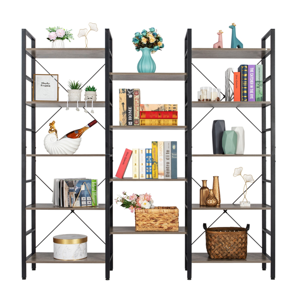 Triple Wide 5-Shelf Bookcase, Etagere Large Open Bookshelf Vintage Industrial Style Shelves Wood and Metal bookcases Furniture for Home & Office (Gray)