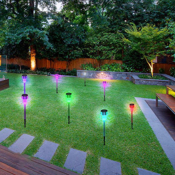 10pcs 5W High Brightness Solar Power LED Lawn Lamps with Lampshades Seven Color