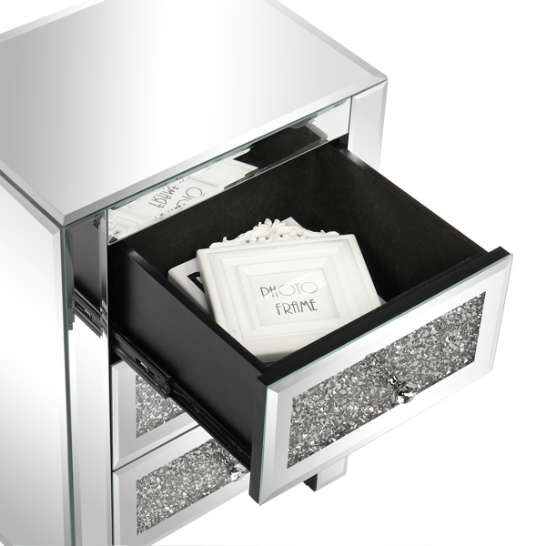 FCH Silver MDF Mirror Surface Broken Glass 40*30*60cm Three Drawers Bedside Table