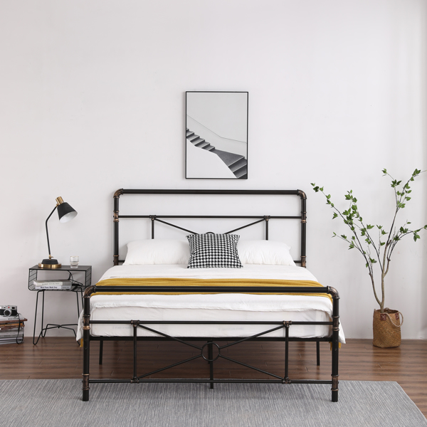 Single Layer Water Pipe Bed Cross Design with Bed Tail Black Queen
