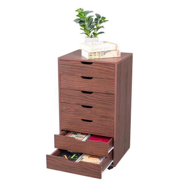 Seven Drawers MDF With PVC Wooden Filing Cabinet Dark Walnut Color