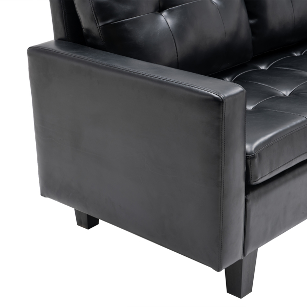 L-shaped Disassembly and Assembly of the Backrest Pull Point, Variable Combination, Three-Seat Indoor Sofa, Solid Wood Soft Bag PU 3-3 194*67*83cm Black Simple Nordic Style N101