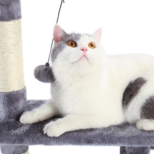 Cat Tree,Kitty Toy Cat Scratching Post Natural Sisals Kitten Activity Tower Condo Stand Luxury Furniture Grey