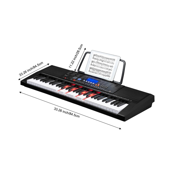 【Do Not Sell on Amazon】Glarry GEP-105 61 Key Portable Lighting Keyboard , Built In Speakers, Headphone, Microphone, Music Rest, LCD Screen, USB Port  for Beginners