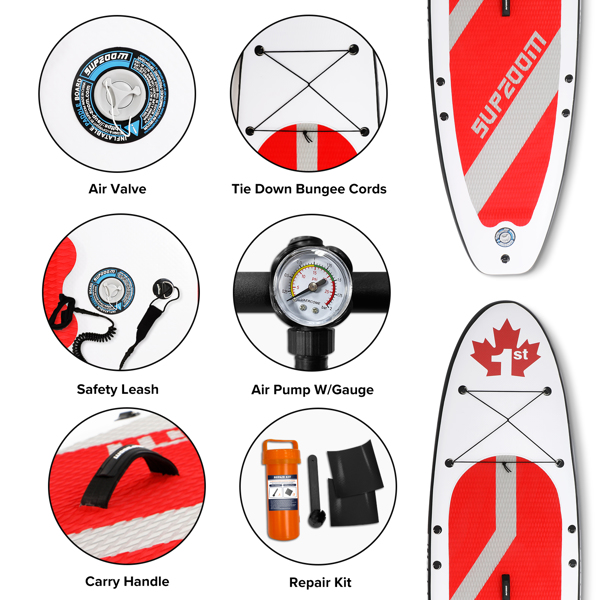 """SUPZOOM Red Leaf Inflatable 10'6×32""""×6"""" SUP for All Skill Levels Everything Included with Stand Up Paddle Board, Paddle, Hand Pump, ISUP Travel Backpack, Leash, Waterproof Bag, Repair Kit"""
