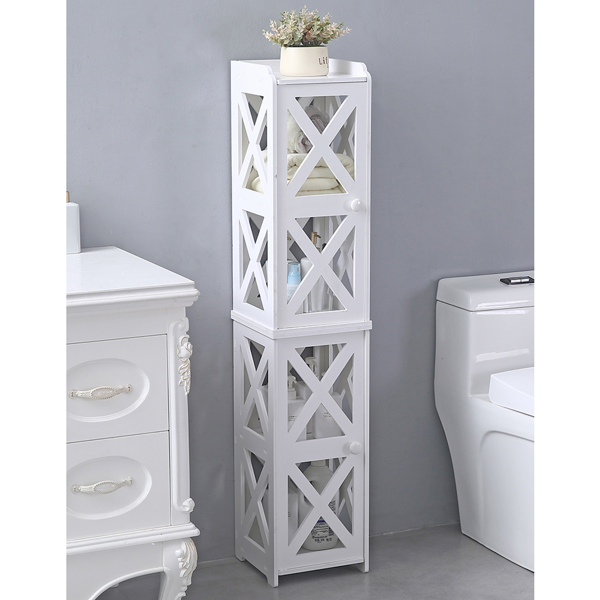 PVC Furniture, Bathroom Shelf, Cross Pattern, Layered Structure Up and Down, Double Doors 【28*28*120cm】