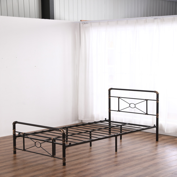 Single-layer Water Pipe Bed with Cross Design and Foot End Twin Black Iron Bed