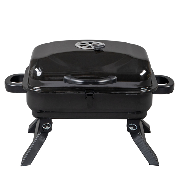 Portable Charcoal Grill BBQ and Smoker with Lid, Folding Tabletop Grill, for Camping Patio Backyard Outdoor Cooking, Black