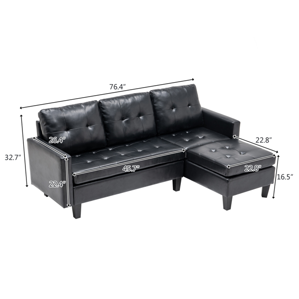 L-shaped Disassembly and Assembly of the Backrest Pull Point, Variable Combination, Three-Seat Indoor Sofa, Solid Wood Soft Bag PU 3-1 194*67*83cm Black Simple Nordic Style N101