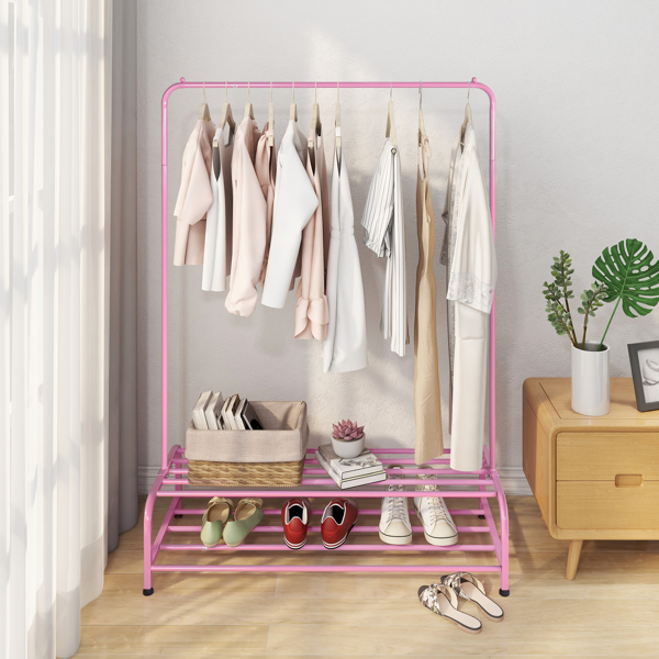 Clothing Garment Rack with Shelves, Metal Cloth Hanger Rack Stand Clothes Drying Rack ,Pink