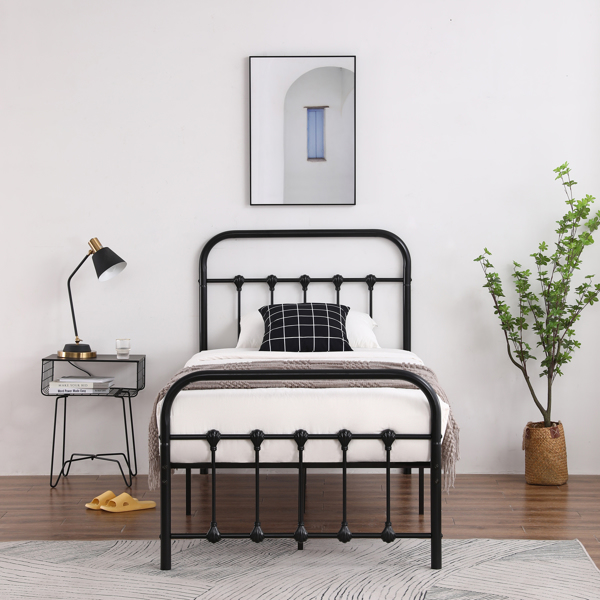 Single-Layer Curved Frame Bed Head and Foot Tube with Shell Decoration Twin Black Iron Bed