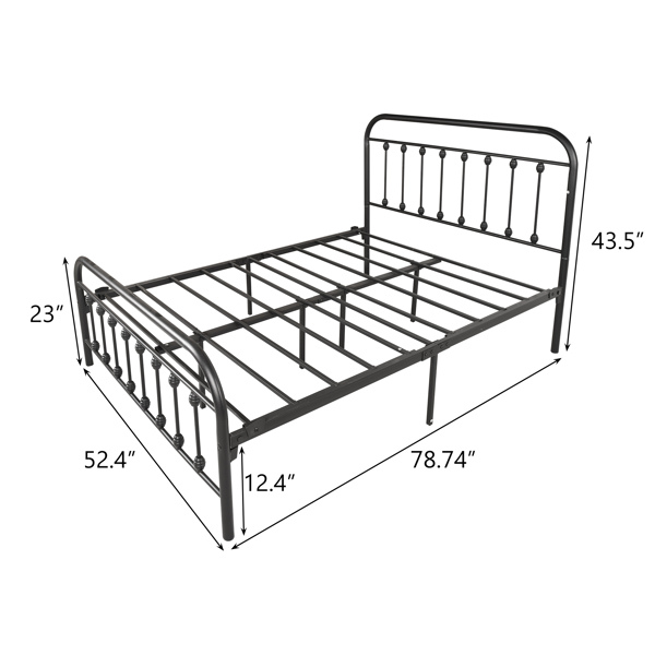 Vintage Full Metal Bed Frame with Headboard and Footboard Platform/Wrought Iron/Heavy Duty/Solid Sturdy Metal Slat/No Box Spring Needed,Black
