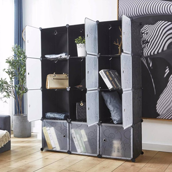 """14"""" x 14"""" 12 Cubes Storage Organizer with Doors - Add Metal Panel, Portable Closet Storage Cube Wardrobe Armoire, DIY Modular Cabinet Shelves, Storage for Clothes, Books, Shoes, Toys"""