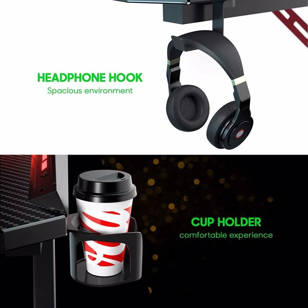 SOViD Gaming Desk with LED RGB Lights 47 Inch PC Computer Desk Y Shaped Gamer Setup Accessories for Sons' Gift Game Table Gamer Handle Rack Cup Holder & Headphone Hook Black