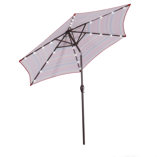 Outdoor Patio 8.7-Feet Market Table Umbrella with Push Button Tilt and Crank, Red Stripes With 24 LED Lights[Umbrella Base is not Included]