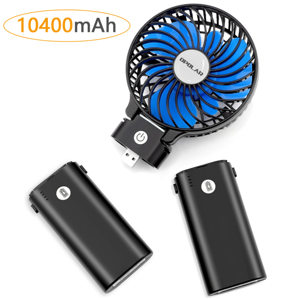 10400mAh Battery Operated Fan, Portable Handheld Fan with 10-40 Hours Working Time,3 Setting, Strong Wind, Foldable Design Fan(Black Blue)(亚马逊禁售)