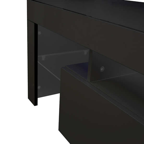 Modern Black TV Stand, 20 Colors LED TV Stand w/Remote Control Lights