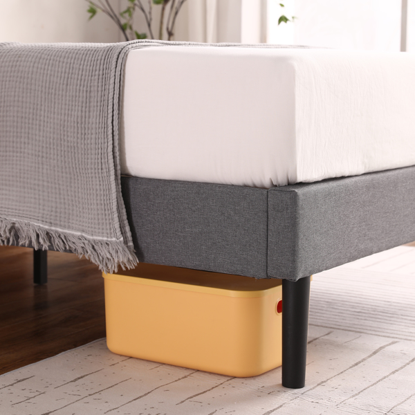 Twin Adjustable Headboard Height Cotton And Linen Soft-Packed Bed Dark Gray