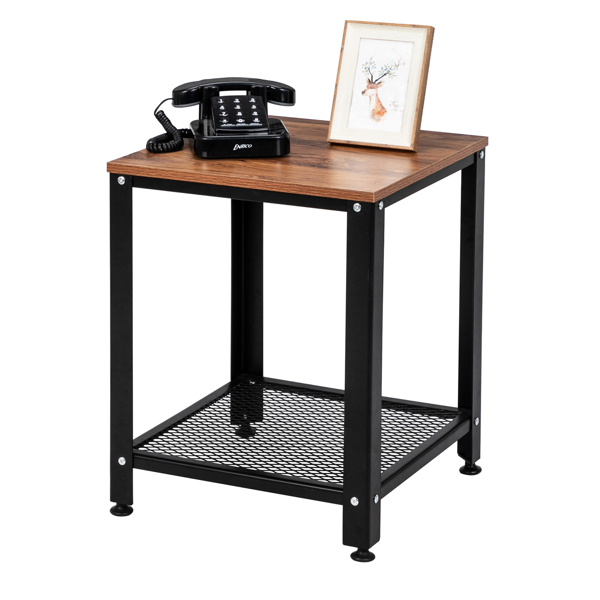 Stylish Steel And Wood Side Table