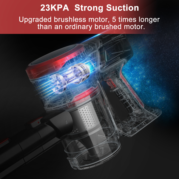 【Not available for sale on Amazon&Walmart】MooSoo K17 Cordless Vacuum Cleaner 23Kpa Telescopic Link Stick Vacuum Cleaner with Strong Suction Power