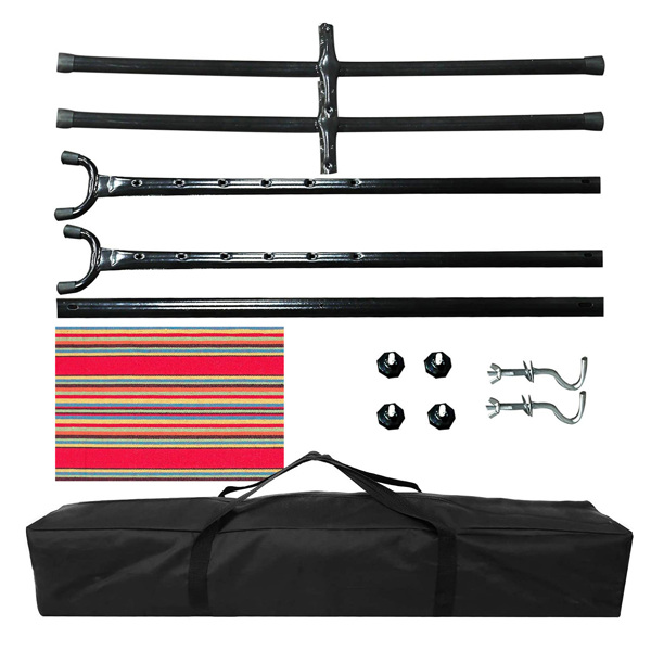 Outdoor hammock set includes 102*45*38 inch black steel bracket, 6.7*5 feet polyester cotton red striped hammock cloth, suitable storage bag, manual, can carry 450 pounds, courtyard party outskirts
