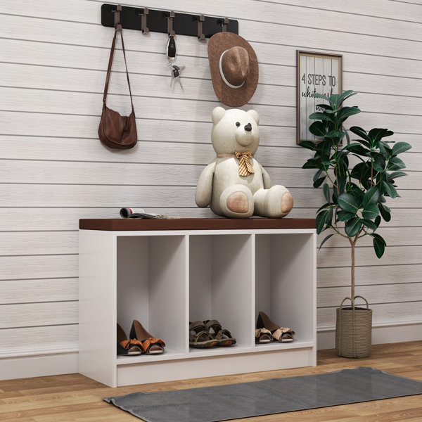 Shoe Bench with Cushion, 3-Cube Wooden Storage Box Organizer, for Shoes Books Toys Decorations, in Entryway Playroom Living Room