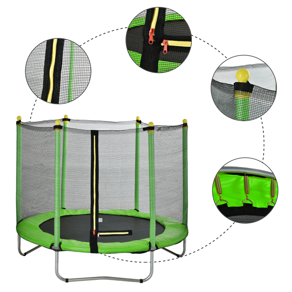 """60"""" Round Outdoor Trampoline with Enclosure Netting Green"""