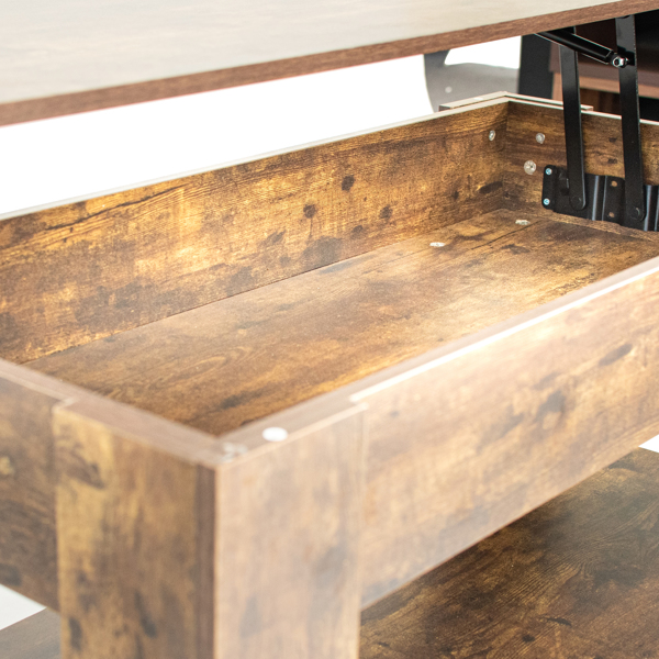 Coffee Table with Hidden Compartment and Storage Shelf, Rising Tabletop for Living Room Reception Room