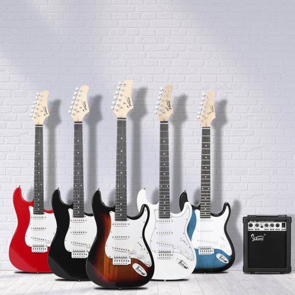 【Do Not Sell on Amazon】Glarry GST Stylish Electric Guitar with SSS Pickup,White Pickguard, 20W Amplifier Black