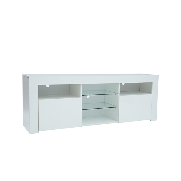 """145 Modern 57"""" TV Stand Matte Body High Gloss Fronts with 16 Color LEDs"""
