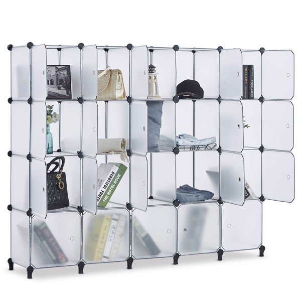 20 Cube Storage Organizer with Doors,Cubes Portable Closet Storage Cube Wardrobe Armoire, DIY Modular Cabinet Shelves, Storage for Clothes, Books, Shoes, Toys