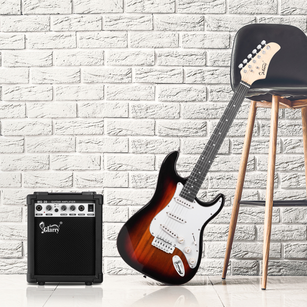 【Do Not Sell on Amazon】Glarry GST Stylish Electric Guitar with SSS Pickup,White Pickguard, 20W Amplifier Sunset Color