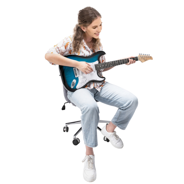 【Do Not Sell on Amazon】Glarry GST Stylish Electric Guitar with SSS Pickup,White Pickguard, 20W Amplifier Dark Blue