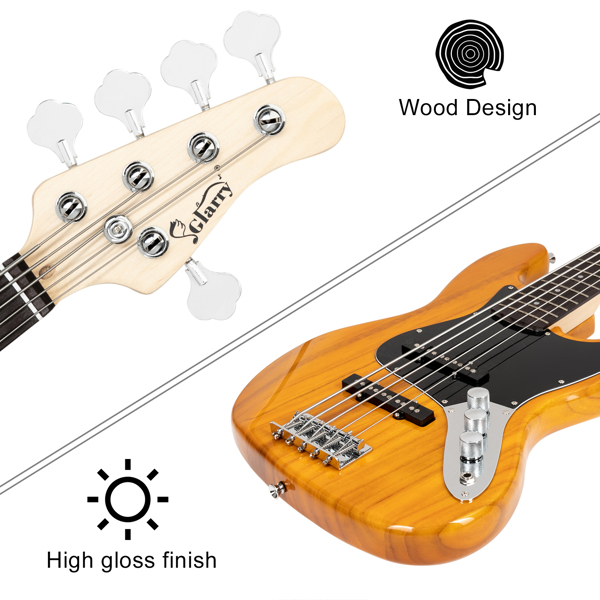 【Do Not Sell on Amazon】Full Size Glarry Gjazz Electric 5 String Bass Guitar 20W Amplifier Bag Strap Pick Connector Wrench Tool Transparent Yellow