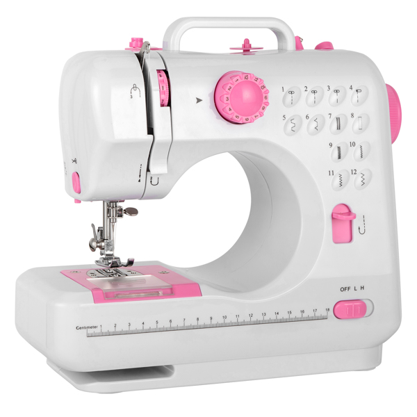 ZOKOP FHSM-505 Sewing Machine, Crafting Mending Machine, Portable With 12 Built-In Stitches,Household Electric Small Desktop Multifunctional Seaming Machine Reversing Manual Sewing Machine White&Pink