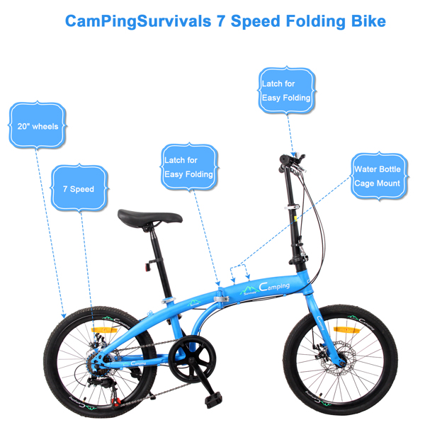 20in High Carbon Steel Bearing 100kg Foldable Adult Leisure Bicycle Blue (Do not sell on Amazon)