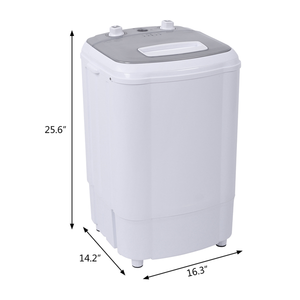 ZOKOP Compact Single Tub with Built-in Drain Pump XPB38-ZK3 10lb Elution Integrated Semi-automatic Gray Cover Washing Machine