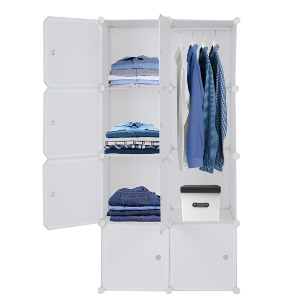8 Cube Organizer Stackable Plastic Cube Storage Shelves Design Multifunctional Modular Closet Cabinet with Hanging Rod White