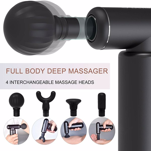 Massage Gun Deep Tissue Percussion Muscle Massager - Metal Handheld Electric Massager for Pain Relief Athletes Quiet Brushless Motor Cordless 1.1 lbs, 5 Speeds & 4 Attachments with Travel Case
