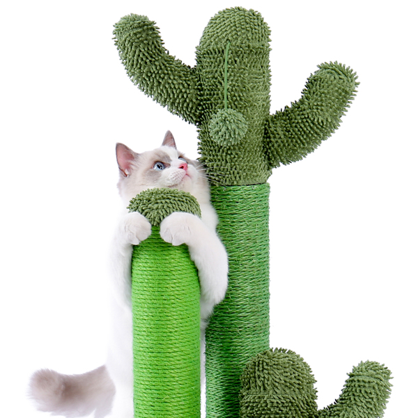 Cat Scratching Post Cactus Cat Scratcher Featuring with 3 Scratching Poles and Interactive Dangling Ball